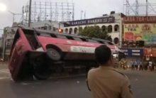 Hyderabad: Bus overturns at MJ Market, Passengers hurt
