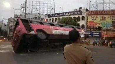 Photo of Hyderabad: Bus overturns at MJ Market, Passengers hurt