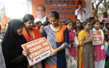 Hyderabad: BJP Yuva Morcha stages dharna against exorbitant fee structure of private schools