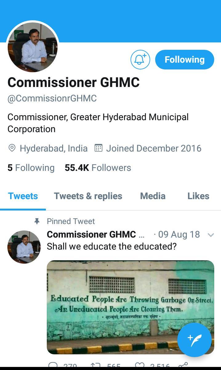 GHMC a rising star of twitter