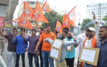 Bajrang Dal Protest in Hyderabad against Delhi clash