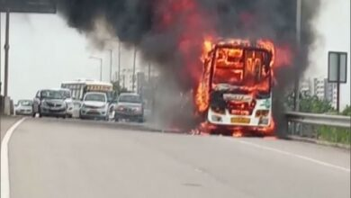 Photo of Telangana: Private bus gutted in fire