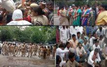Congress protest at Gandhi Bhavan against Priyanka Gandhi arrest