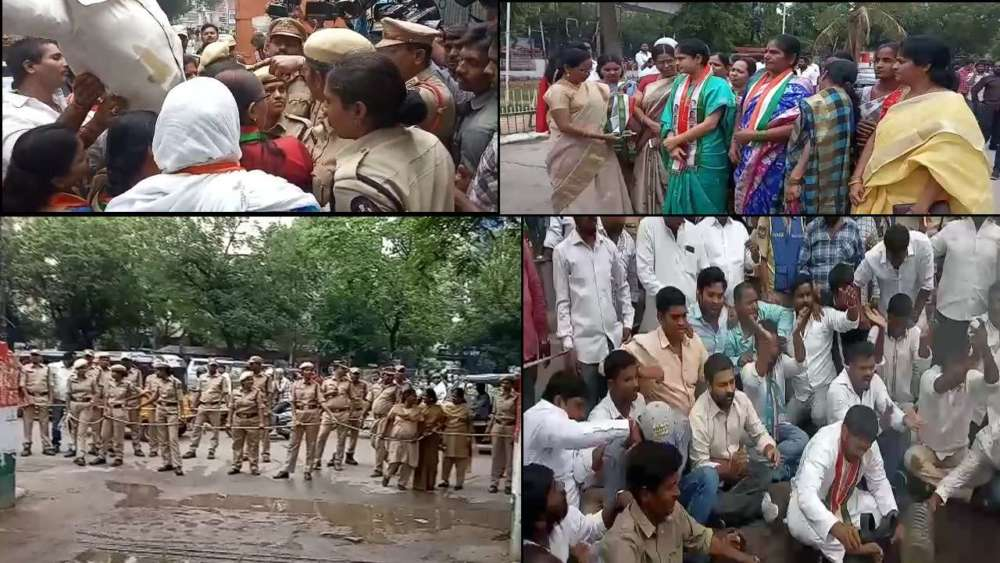 Irate Mahila Congress activists burn BJP effigy
