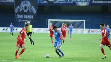 Photo of Players in action in the match between India and Tajikistan on Sunday.