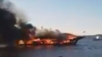 Photo of Goa houseboat catches fire mid-river
