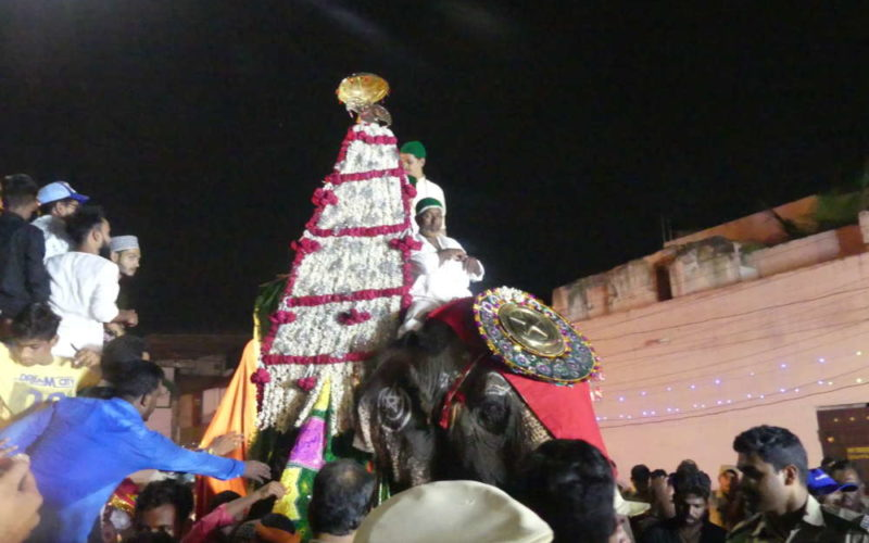 Karnataka Elephant takes part in Giarveeh rally in Hyderabad