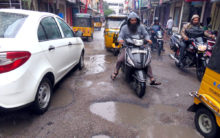 City roads battered after two days of incessant rain