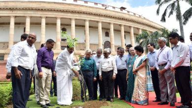 Photo of Venkaiah planted a sapling at Parliament House