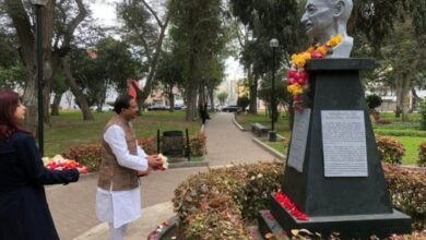 Photo of MoS MEA pays floral tribute to Mahatma Gandhi in Peru