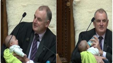 Photo of Photo of NZ Speaker cradling MP's baby wins hearts online