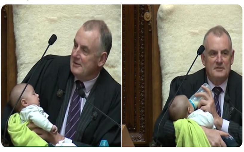 New Zealand House speaker babysits MP's baby
