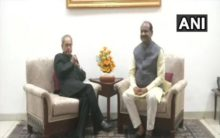 Delhi: Om Birla meets Pranab Mukherjee at his residence
