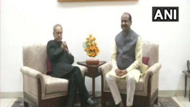 Photo of Delhi: Om Birla meets Pranab Mukherjee at his residence