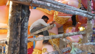 Photo of India's Tallest Ganesh idol on final touch up