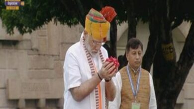 Photo of PM Modi pays tribute at Raj Ghat on 73rd Independence Day