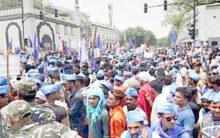 Ravidas Mandir: Delhi's Ramlila Maidan turned into sea of blue