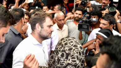 Photo of Rahul Gandhi visiting flood relief camps