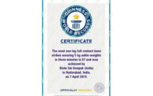Youth sets Guinness World Record for one-leg knee strikes