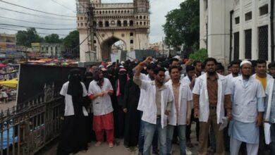 Photo of Unani Students protest against Ayurveda at Charminar Shifa khana