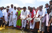 Fish Seedlings into Koil Sagar Reservoir