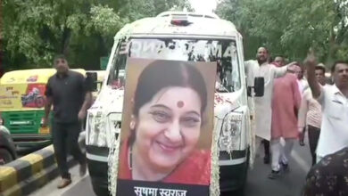 Photo of Sushma Swaraj: Teary homage to people's politician