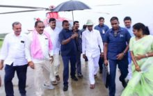 KCR conducts aerial survey at Kaleshwaram