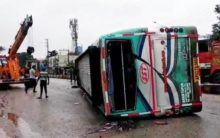 Private Bus Overturns Near Zoo Park in Hyderabad, Many injured