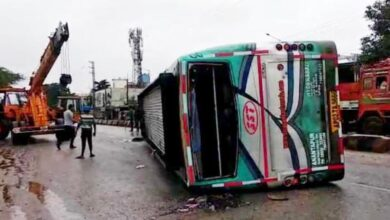 Photo of Private Bus Overturns Near Zoo Park in Hyderabad, Many injured