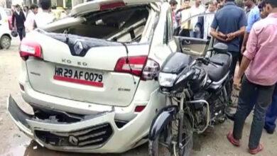 Photo of Noida: Bike rider dies on spot after collision with speeding car