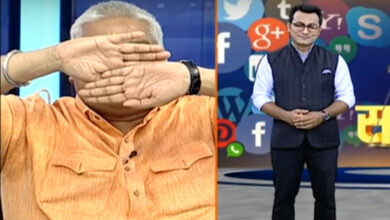 Photo of Ajay Gautam covers his eyes after seeing Muslim anchor
