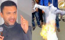 Bajrang dal, VHP activists burn effigy of Akbar owaisi at Koti