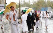 Heavy rain pours down on Hajj pilgrims at Arafat