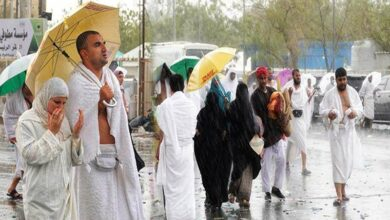 Photo of Heavy rain pours down on Hajj pilgrims at Arafat