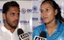 Indian hockey teams arrive back after winning Olympic Test Event