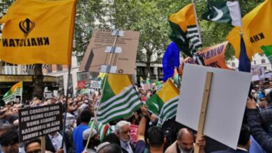 Photo of Thousands protest for Kashmir outside Indian High Commission