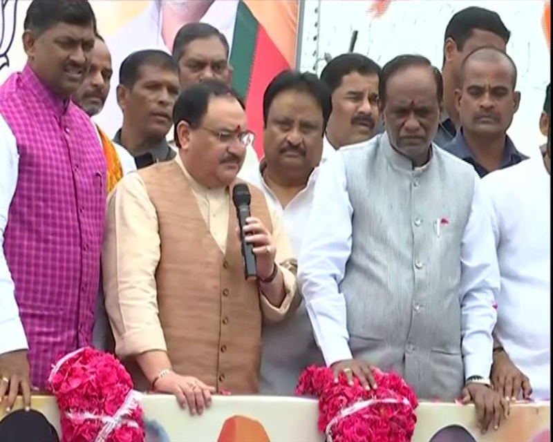 Nadda arrives in Hyderabad, to address rally later in the day