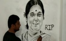 UP artist Zoaib makes 6 feet charcoal portrait of Sushma Swaraj