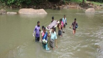 Photo of No roads, villagers carry pregnant woman on cot for 12 kms