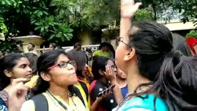 Photo of St Francis girls protest against restriction of wearing kurti