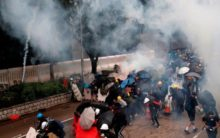 Protestors clash with riot police, petrol bombs replied with water cannons