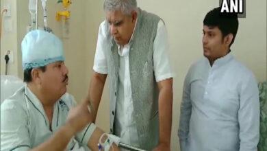 Photo of Governor Jagdeep Dhankhar meets BJP MP Arjun Singh at hospital