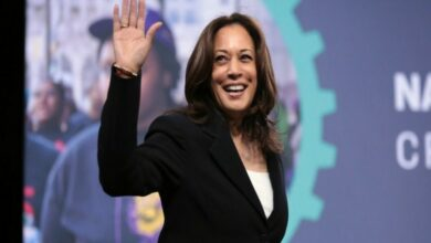Harris apologises after 'laughing' at remark on Trump