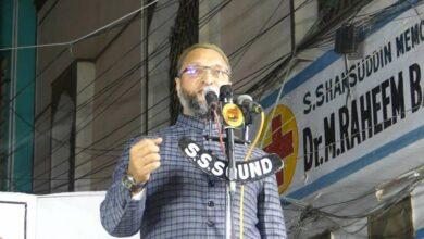 Photo of Asaduddin Owaisi addressing in Jalsa Yaad-e-Hussain