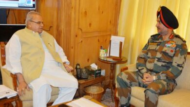 Photo of Northern Army Commander, J-K Governor discuss security situation