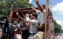 NSUI Students hold protest infront of Telangana Assembly