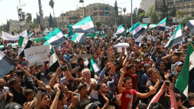 Photo of Hundreds protest against regime in Syria's Idlib