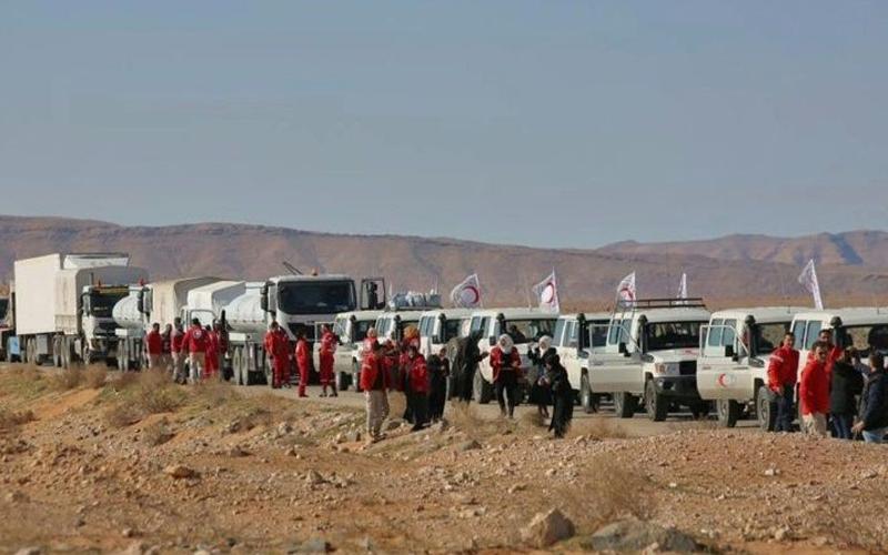 Aid sent to displaced Syrians near Jordan border
