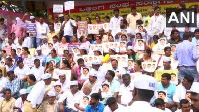 Photo of Vokkaligas protest in Bengaluru against Shivakumar's arrest