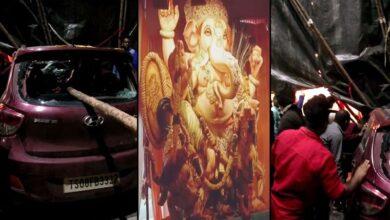 Photo of Three injured as car crashes into Ganesh pandal